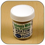ARM014C - 1oz Jar Indonesia White Vein Ultra Premium Superfine Powder Kratom (Mitragyna speciosa)